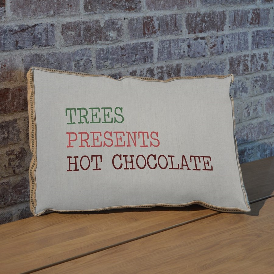 Trees Presents Hot Chocolate pillow