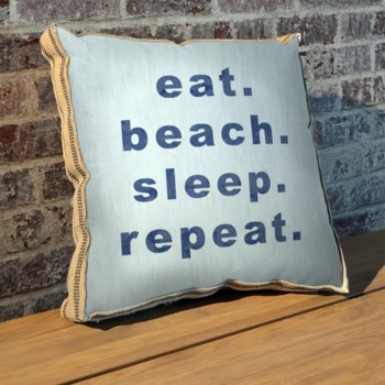 Eat beach sleep repeat pillow-Coastal and Tropical