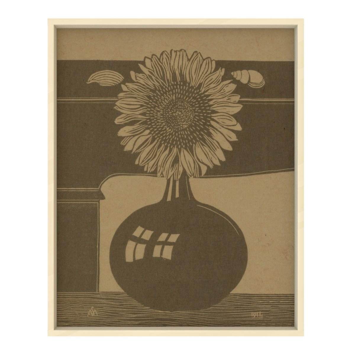 Sunflower Vase Etching Hemp Panel