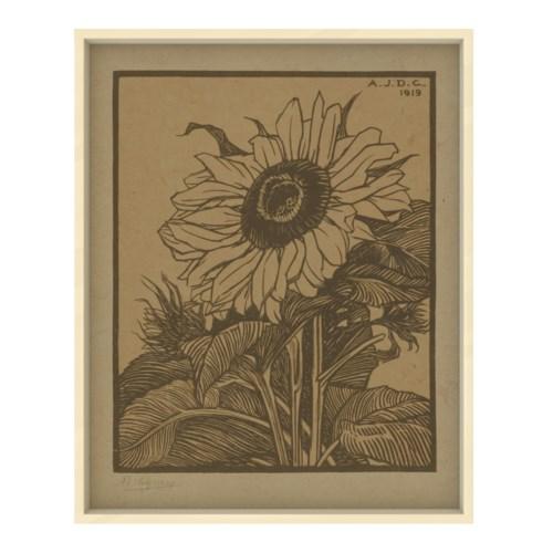 Sunflower Etching Hemp Panel