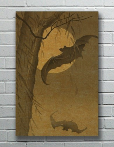 Bats in the Night hemp art-Animals and Nature