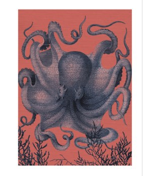 Octopus III Full blue with coral background-Coastal