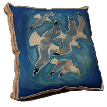 Flock of sea gulls pillow-Coastal