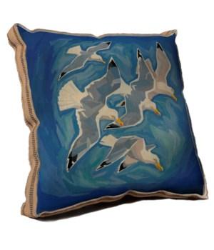 Flock of sea gulls pillow-Coastal