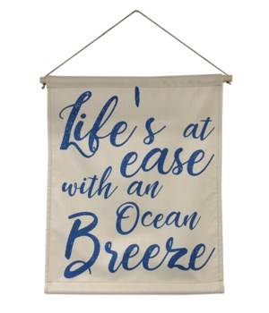 Specialty Item - Life's at ease linen scroll wall art -Inspiration