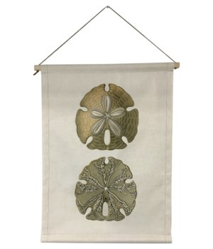 Specialty Item -Sand Dollars linen scroll wall art -Inspiration