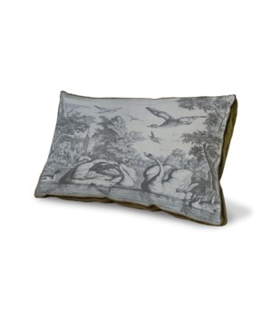 Swan Toile Blue pillow