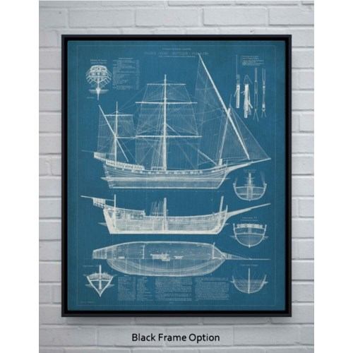 Antique Ship Blueprint I -Transportation and Travel