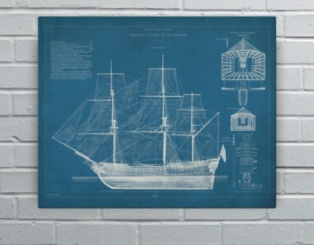 Antique Ship Blueprint IV-Transportation and Travel