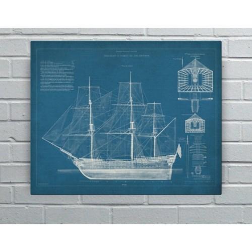 Antique Ship Blueprint IV-Transportation and Travel