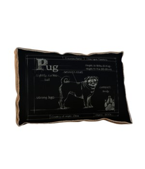 Blueprint Pug black pillow-Aminals and Nature