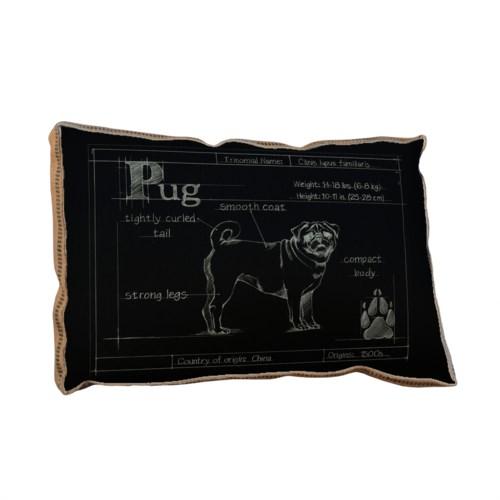 Blueprint Pug black pillow-Aminals and Nature