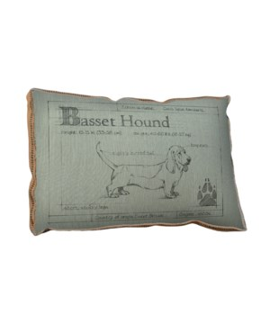 Blueprint Bassett Hound white pillow-Animals and Nature