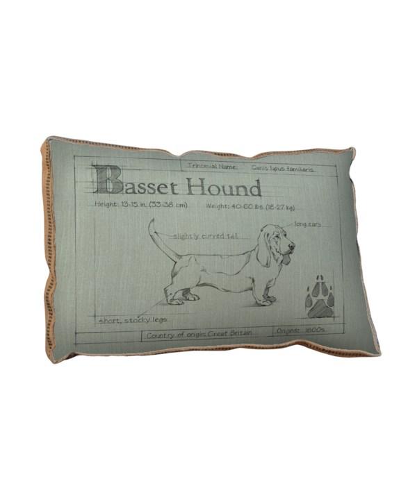 Blueprint Bassett Hound white pillow-Animals and Nature