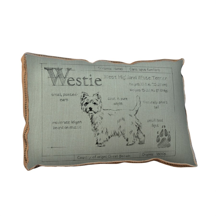 Blueprint Westie white pillow-Animals and Nature