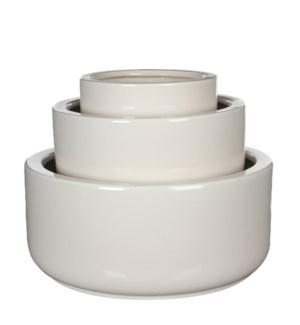 Lars bowl round white set of 3 - l40xw40xh18cm