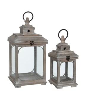 Lantern brown set of 2 - l24xw24xh48cm
