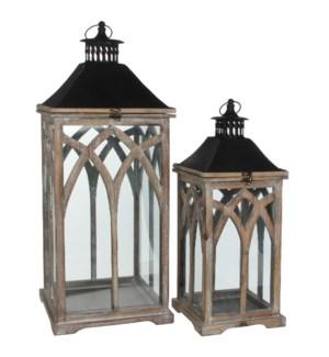 Lantern brown set of 2 - l30xw30xh72cm