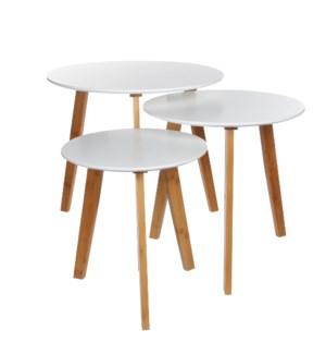 Side table white set of 3 - h45xd48cm