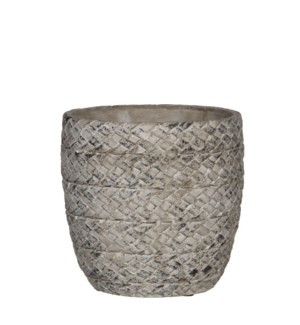 Alma pot round l. grey - h16,5xd17,5cm