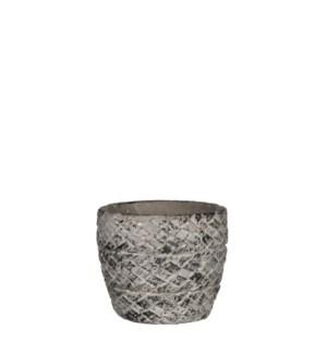 Alma pot round l. grey - h9,5xd10,5cm