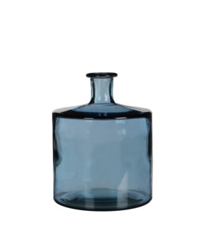 Guan bottle glass blue - h26xd21cm