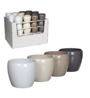 Lidy pot round 4 assorted pdq - h6xd8cm