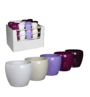 Lidy pot round 5 assorted pdq - h6xd8cm