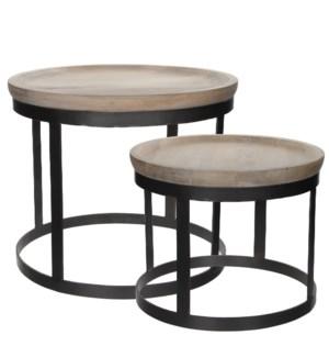 Harvey table white wash set of 2 - h45xd53cm