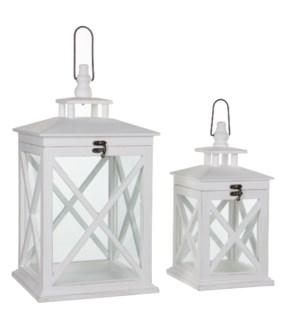 Lantern white set of 2 - l24xw24xh46cm