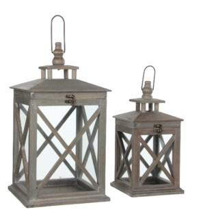Lantern brown set of 2 - l24xw24xh46cm