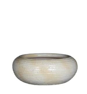 Ingmar bowl off white ridged - h11xd28cm