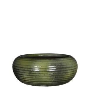 Ingmar bowl green ridged - h11xd28cm