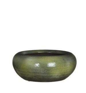 Ingmar bowl green shiny - h11xd28cm