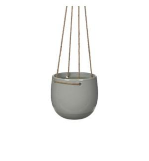 Resa hanging pot round l. grey - h17xd18,5cm