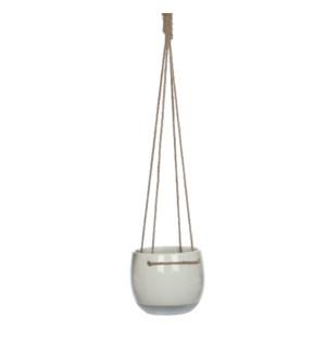 Resa hanging pot round white - h13,5xd16,5cm