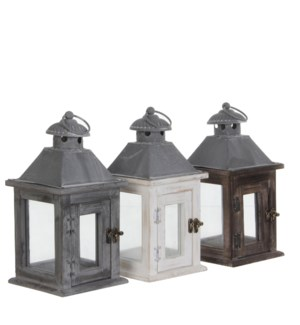 Lantern white wash brown grey 3 assorted - 6x6x12""