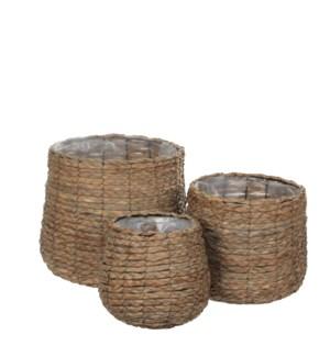 Avalon basket round l. brown set of 3 - h31xd30cm