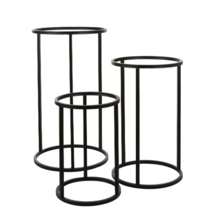 Cachet plant stand black set of 3 - h75xd43cm
