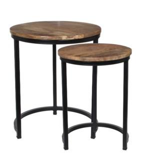 Solato table brown set of 2 - h55xd45cm