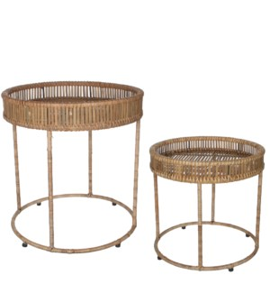 Monitola table beige set of 2 - h54xd51cm