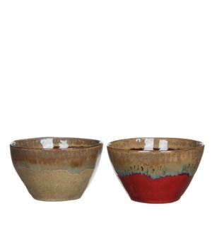 Olin bowl beige d. brown 2 assorted - h6,5xd14cm