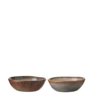 Eva bowl taupe blue 2 assorted - h3xd8,5cm