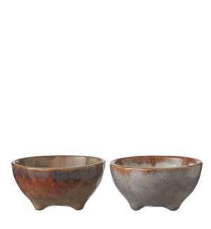 Eva bowl taupe blue 2 assorted - h4,5xd9cm