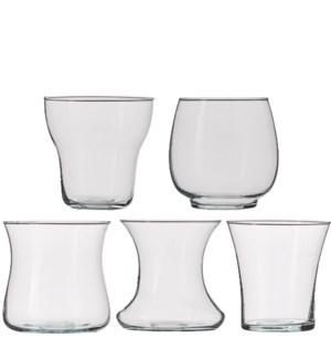 Vase glass 5 assorted pdq - h14xd14,5cm
