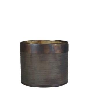 Chellie pot glass grey antique - h18xd20cm