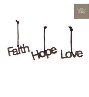 "Ornament Love Hope Faith 1.25x4"" 3 Assorted"