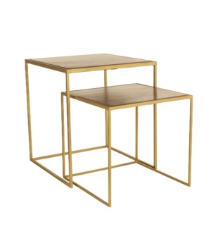 Jailey side table d. brown set of 2 - l40xw40xh45cm
