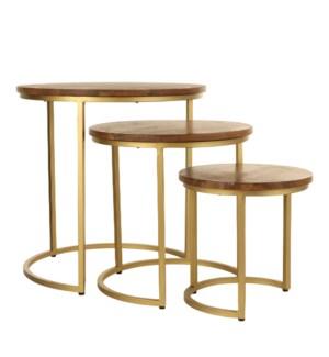 Jolie side table d. brown set of 3 - h52,5xd52cm