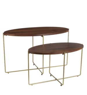 Fredo side table d. brown set of 2 - l75xw37xh45cm